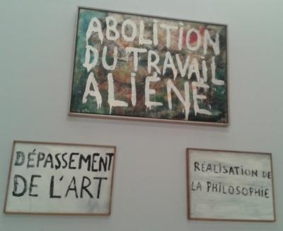 Trois œuvres de Guy Debord : « Dépassement de l'art (Directive n° 1) », « Abolition du travail aliéné (Directive n° 4) », « Réalisation de la philosophie (Directive n° 2) © Elsa Comiot