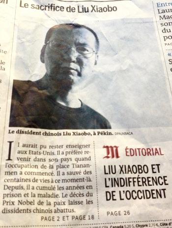 Liu Xiaobo, page 1 du Monde du 15 juillet 2017 © Tieri Briet