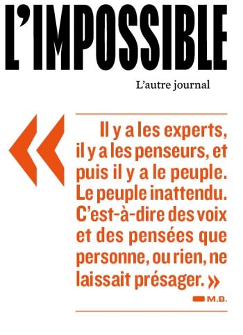 Le journal l'Impossible, première de couverture du numéro 2, avril 2012