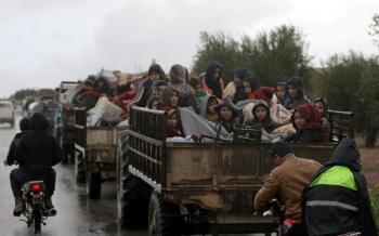 Afrin, le 15 mars 2018. Plus de 30 000 civils ont quitté Afrine en 24 heures pour fuir les bombardements turcs. REUTERS/Khalil Ashawi