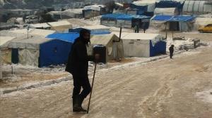Camp de réfugiés sous la neige à Idlib, février 2020.