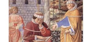 Saint Augustin lisant les Épîtres de Paul, fresque de la Collégiale de San Gimignano